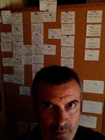 Alex Metcalf with index card outline for a TV pilot