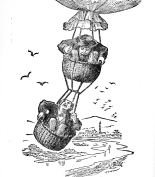 guys hanging from basket-frontierhumorsom00coxp_0026-bw